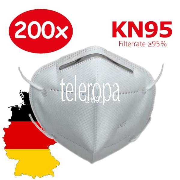 200 Stück Mund- und Nasen Schutzmaske KN95 Gesichtsmaske mit Nasenklammer Schutz