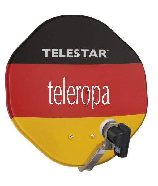 ALURAPID 45 cm Aluminium Sat-Schüssel mit SKYSINGLE HC LNB schwarz-rot-gelb