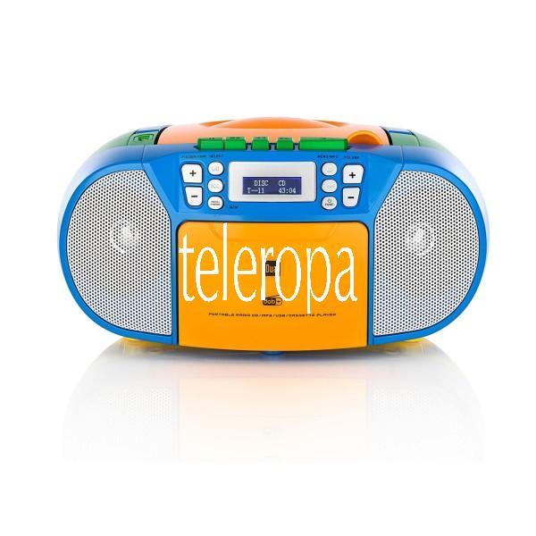 DAB-P 210 Bunt Portable CD-Boombox mit Kassettenabspieler und DAB(+)-Radio