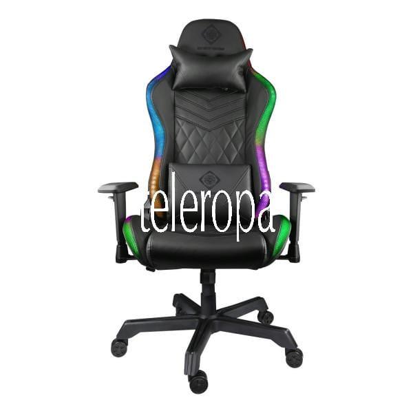 Gaming Stuhl (RGB Beleuchtung, Kunstleder, Nackenkissen, Ergonomisch)