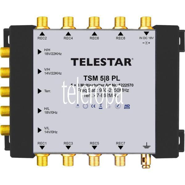TSM 5/8 PL Multischalter zur Versorgung von bis zu 8 Teilnehmern (4 SAT+ 1 DVB-T Eingang/8 Ausgänge)