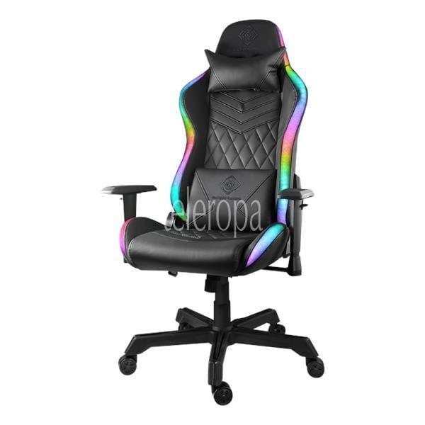 DELTACO GAMING RGB Gaming Stuhl Kunstleder Nackenkissen Rückenkissen schwarz