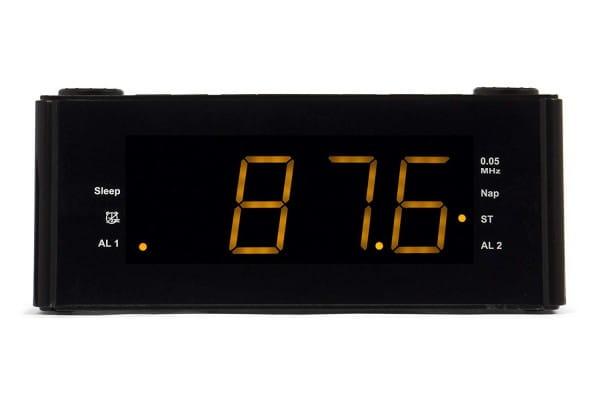 CLR 180 BK Uhrenradio mit Wecker, AUX-IN, Stereo PLL FM-Lautsprecher, 2 Weckzeiten, Snooze Funktion