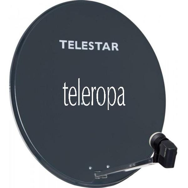 DIGIRAPID 80 A schiefergrau Alu Sat-Antenne inkl. SKYTWIN HC LNB für 2 Teilnehmer